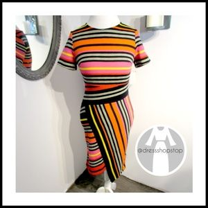 Dresses & Skirts - Orange Pink Yellow // Striped Knit SS Dress //